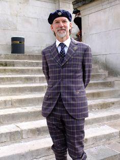 """Great purple check tweed suit from """"The Tweed Wheelers"""" blog #tweed #harristweed #tweedrun"""