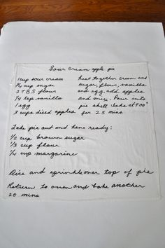 DIY Handwritten Recipe Tea Towel, what a lovely touch to remember grandmas old recipes right in our home and useable too!