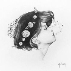 girl with universe in her hair drawing