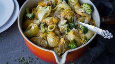Makaronigrateng med brokkoli og kylling