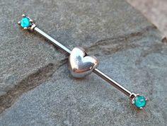 Heart Industrial Barbell Fire Opal 14ga Body Jewelry Ear Jewelry Double Piercing Upper Ear Jewelry