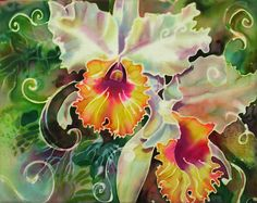 """""""Orchid Series 9"""" - silk painting by Deborah Younglao 