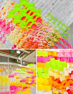 Entire architectural structures were built from nothing more than 30,000 brightly colored post-it notes in an installation called 'Post-It Structures' by Yo Shimada of Tato Architects. Installed at the Artzone Gallery in Kyoto, Japan, the structures were created by sticking the notes to each other so that they created cell-like shapes.