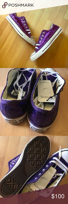 Converse All Stars Purple Sequin Low Top Sneakers Never been worn! True to size. Hand sequined by Princess Pumps. Converse Shoes Sneakers