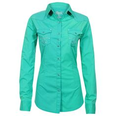 Rock 47 by Wrangler Women's Long Sleeve Embroidered Western Shirt