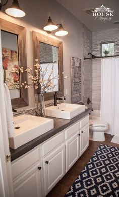 Bathroom, rustic, modern, home decor, double sinks, shower curtain, rug, white cabinet, farmhouse, two mirrors, wood framed mirror, bathroom light, diy, diy decor #afflink