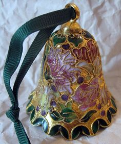 "VTG 1980's Cloisonne Christmas Bell Ornament (Green, Gold, Pink, Yellow) 2-1/2"" #christmasinjuly #sale"