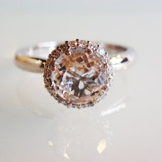 Really kind of loving these white topaz rings.Diamond and white topaz engagement ring - beautiful, warm color Vintage Inspired Engagement Rings, Platinum Engagement Rings, Vintage Style Rings, Vintage Jewelry, Unique Jewelry, Jewelry Box, Jewellery, White Topaz Rings, To Infinity And Beyond
