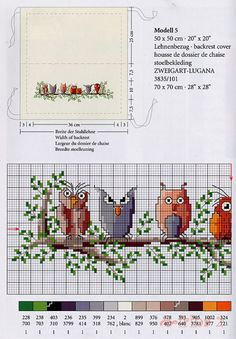 "Photo from album ""Zweigart Stickideen: Eulen - on Yandex. Cross Stitch Owl, Cross Stitch Boards, Cross Stitch Animals, Cross Stitching, Cross Stitch Embroidery, Embroidery Patterns, Cross Stitch Patterns, Needlework, Creations"
