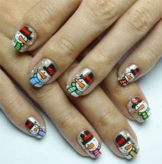 Cute Snowman Nail Art Design