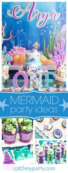 Dive under sea to this fabulous 1st birthday party. The birthday cake is gorgeous!! See more party ideas and share yours at CatchMyParty.com