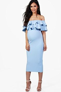 $24 | I love this off-the should ruffle maternity dress! | maternity fashion | maternity wardrobe | maternity style | maternity dress | maternity clothes | pregnancy | bump | #affiliate