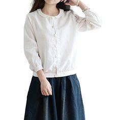 Katuo Doll Collar Women Shirt Creamy White Cotton Linen Shirt (M) KATUO http://www.amazon.com/dp/B00QURSPBS/ref=cm_sw_r_pi_dp_JKitvb0BABDBH