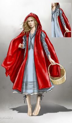 Costume illustration for Little Red from 'Into The Woods' - Costume Designer: Colleen Atwood.