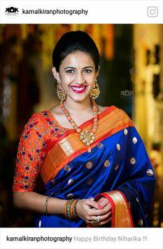 * Saree Fabric : Silk * Saree Color : Orange and navy blue * Saree Length : M * Blouse Fabric : Silk * Blouse Color : Orange * Blouse Length : M * Work : Embroidery * Look: khadi silk saree * Wash Care: First Wash Dry Clean * Del Pattu Saree Blouse Designs, Saree Blouse Patterns, Designer Blouse Patterns, Bridal Blouse Designs, Khadi Saree, Silk Sarees, Saris, Indian Sarees, Kanjivaram Sarees