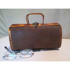 Handbag, Vintage Small Bamboo, Basketweave Geometric over Wood Frame... ($18) ❤ liked on Polyvore featuring man bag, brown purse, top handle handbags, vintage wood purse and vintage handbags purses