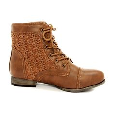 Wild Diva Lounge Tosca 85A Cognac Lace-Up Ankle Boots ($100) ❤ liked on Polyvore featuring shoes, boots, ankle booties, short heel boots, lace-up ankle booties, lace-up bootie, short boots and lace up ankle boots
