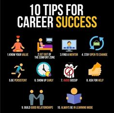 10 tips for career success / infographic - 10 tips for career success / infographic - Study Motivation Quotes, Business Motivation, Business Quotes, Business Ideas, Business Opportunities, Personal Development Skills, Career Success, Career Advice, Business Money