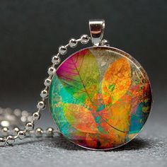 Colorful Summer Foliage Resin Pendant