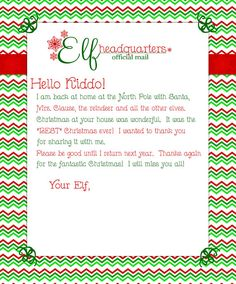 Elf Good Bye Letter Elf Blank Stationery and by PeachNineDesign