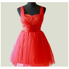Ball gown Spaghetti Straps Sleeveless Short/Mini Tulle Fashion Prom... ($103) ❤ liked on Polyvore