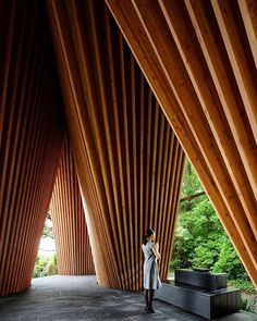 the sayama forest chapel by NAP architects is a #timber structure located at the threshold of dense forest. the gentle, tee pee-like form alludes to the image of praying hands, with subtly angled walls that form an intimate, enclosed space. photo by koji fujii  see more about the project, now on #designboom #architecture #NAParchitectsdesignboom