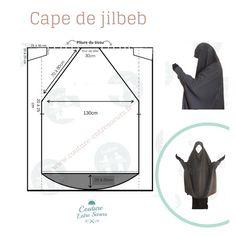 Patron de la cape de jilbeb avec manche élastique ou non Motif Abaya, Abaya Pattern, Jacket Pattern, Muslim Dress, Hijab Dress, Muslim Hijab, Modesty Fashion, Hijab Fashion, Dress Sewing Patterns