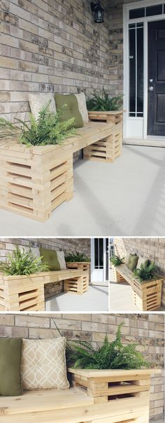 How to Build a Cedar Bench with Planters // How to build a beautiful and functional planter-style cedar bench. Perfect for a backyard oasis or welcoming front porch. Diy Table Saw, A Table, Potager Palettes, Cedar Bench, Planter Bench, Outdoor Furniture Sets, Outdoor Decor, Outdoor Diy Bench, Diy Planters