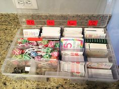 Just wanted to share our newest invention for packaging and shipping! Works awesome. (tackle box 9.88 Walmart) <legging size cards, coupons for special VIP's, mini sized thank you cards from Target's dollar area, care cards and business cards, (both business card sized), lollipops and hair ties for wrapping, and a marker for marking loyalty purchases>