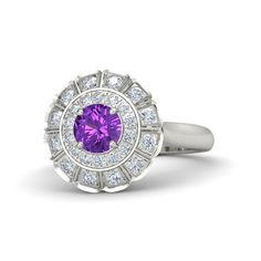 The Jessamine Ring customized in amethyst, diamond and white gold