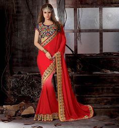Red Viscose Georgette Party Wear Saree 61074
