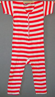 Man's red and white striped cotton bathing suit, c. 1910.