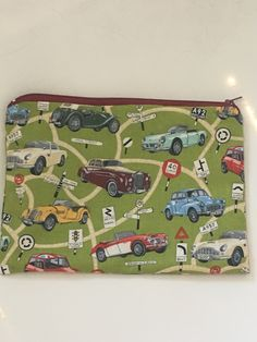 Vintage retro cars zipped pouch by SewnInLoveCreations on Etsy