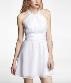 VOILE HALTER DRESS | Express