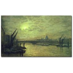 """Trademark Art """"The Thames by Moonlight 1884"""" by John Atkinson Grimshaw Painting Print on Wrapped Canvas Size: 14"""" H x 24"""" W x 2"""" D"""