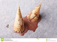 Icecream corn dropped melted on street