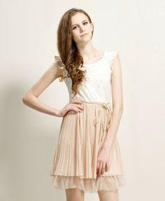 Lady Summer Sweet fashion chiffon one-piece dress female sleeveless chiffon pleated dress 2 colors M  XL XXL Free Shipping D1750 $14.99