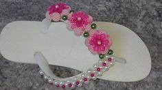 Como fazer: Chinelo Havaiana flores de pérolas craqueladas - Adriana Val...