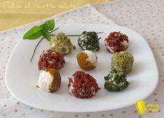 Palline di ricotta salate, ricetta senza cottura. Ricetta facile e veloce per un antipasto fingerfood freddo, ideale per aperitivi, buffet e rinfreschi