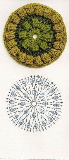 Crochet Granny Square Pattern Diagram Yarns 22 Ideas For 2019 Crochet Coaster Pattern, Crochet Blocks, Granny Square Crochet Pattern, Crochet Diagram, Crochet Chart, Crochet Squares, Crochet Granny, Crochet Circles, Crochet Motifs