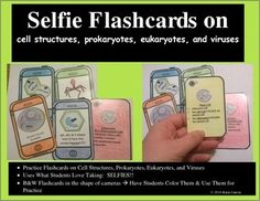 Selfie Flashcards on Cell Organelles, Prokaryotes, Eukaryotes, and Viruses. Have students color the camera images and use the flashcards to practice the cell unit.