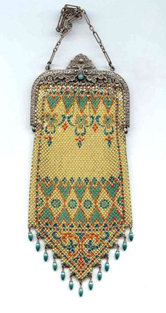 Rare Mandalian 'Sweethearts' Lustro-Pearl Mesh Purse with Turquoise Jeweled Frame .  Click on image for more photos.