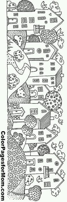 houses in a row Make your world more colorful with free printable coloring pages from italks. Our free coloring pages for adults and kids. House Colouring Pages, Coloring Book Pages, Coloring Sheets, Kids Coloring, Free Coloring, House Quilts, Digi Stamps, Rug Hooking, Printable Coloring