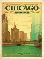 Chicago: St. Patrick's Day - After winning international acclaim for creating the Spirit of Nashville Collection, designer and illustrator Joel Anderson set out to create a series of classic travel posters that celebrates the history and charm of America's greatest cities. He directs a team of talented Nashville-based artists to help him keep the collection growing.