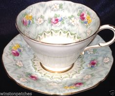PARAGON-EVANGELINE-FOOTED-CUP-SAUCER-8-OZ-FLORAL-ON-LIGHT-BLUE-WITH-GOLD-TRIM