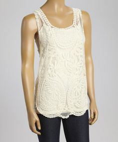 Another great find on #zulily! Ivory Vine Lace Sleeveless Top #zulilyfinds