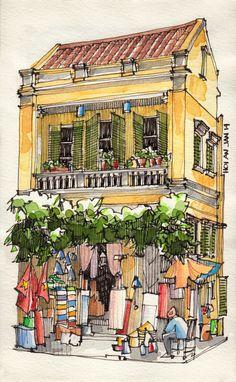Jorge Royan,Vietnam from urban sketchers Urban Sketchers, Watercolor Sketch, Watercolor Paintings, Watercolor Trees, Watercolor Portraits, Watercolor Landscape, Abstract Paintings, Watercolor Artists, Painting & Drawing