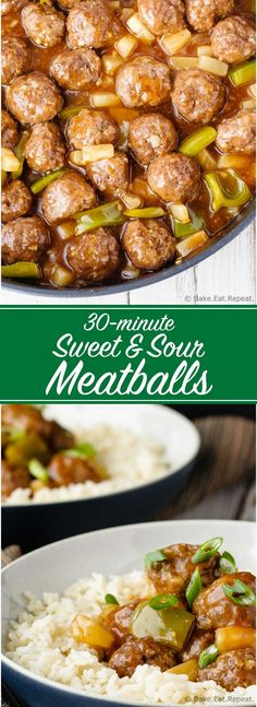 Sweet and Sour Meatballs - Quick and easy sweet and sour meatballs with green pepper and pineapple. On the table in 30 minutes and the whole family will love them!