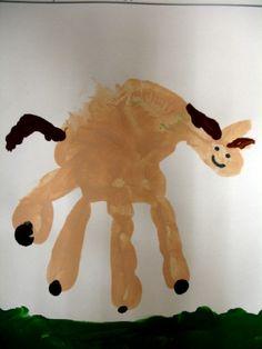handprint horses (Ha! clever, but pretty darn funny looking horse!)