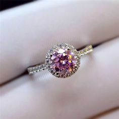 Timeless Halo1ct Lab Pink Diamond Engagement Ring in Sterling Silver [100698] - $131.00 : jewelsin.com